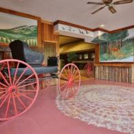 Rustic wagon add ambience to this lobby.